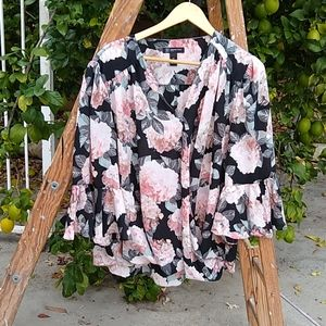 "INC floral mock crossover ""silk"" blouse. 2X"